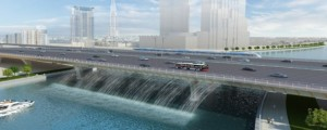 An artist's conception of the bridge over the Dubai Creek canal set to cross Shaikh Zayed Road.