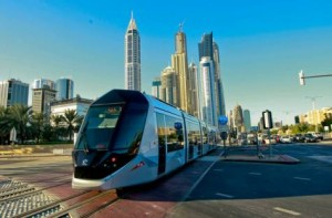 Image Credit: Ahmed Ramzan/Gulf News Tram at Dubai Marina on test before opening. The Dubai Tram will start rolling for passenger service from Wednesday, following its inauguration on November 11 2014.