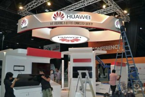 The Huawei pavilion gets some finishing touches at the Internet of Things Expo, which will begin in Dubai today. Supplied photo