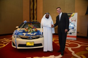 Abdullah Sultan Al Sabbagh, CEO of Cars Taxi Group, and Jon Williams, Managing Director at Al-Futtaim Motors (Supplied)