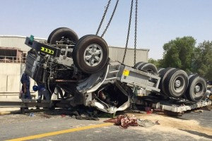 One person was killed in an accident in Jebel Ali, Dubai on Friday when this lorry overturned. There were three major accidents over Eid Al Fitr. Courtesy Dubai Police