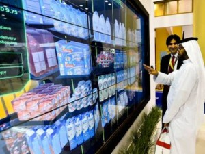Image Credit: Virendra Saklani/Gulf News Smart mall by RTA in Dubai metro stations for virtual shopping by customers on display on the opening day of Gitex Technology week 2015 at Dubai World Trade Centre on Sunday.