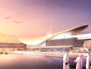 An artist's impression of the Expo 2020 metro station near Al Maktoum International Airport.