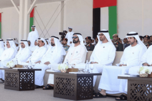 His Highness Sheikh Mohammed bin Rashid Al Maktoum, His Highness Sheikh Mohamed bin Zayed Al Nahyan, Their Highnesses the Supreme Council Members and Rulers of the Emirates and Sheikh Hamdan bin Mohammed bin Rashid Al Maktoum attend the Commemoration Day event (Pic: Al Bayan)