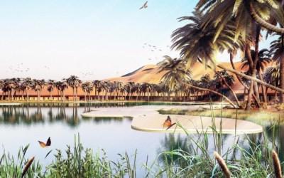 A világ legzöldebb üdülőparadicsomát építik a liwai sivatagban