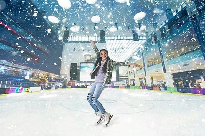 Dubai Ice Rink Snowfall and White Girl