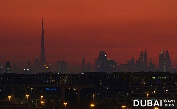 dubai skyline in red