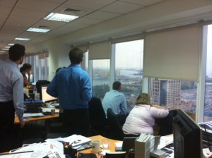 Rain watch at our office. Just *joking*. We were actually watching the Red Arrows aerobatic team performing loops and rolls above the Burj al-Arab
