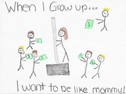 """Not Son1's, but this made me laugh. It was turned in by a first grader in the US, and marked by the teacher. The next day, the mom wrote a note: """"Dear Ms. Davis, I want to be perfectly clear on my child's homework illustration. It is NOT me on a dance pole on a stage in a strip joint surrounded by male customers with money.  I work at Home Depot and had commented to my daughter how much money we made in the recent snowstorm.  This drawing is of me selling a snow shovel."""