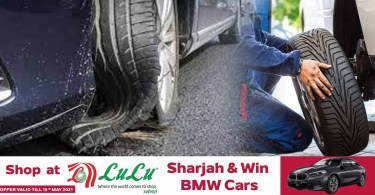 Warning that vehicle tires should be inspected to prevent accidents before the heat rises in the UAE