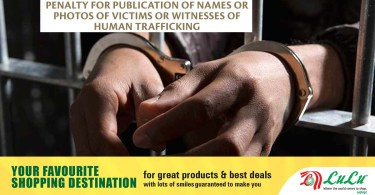 Warning that revealing the names of victims of human trafficking is punishable in the UAE
