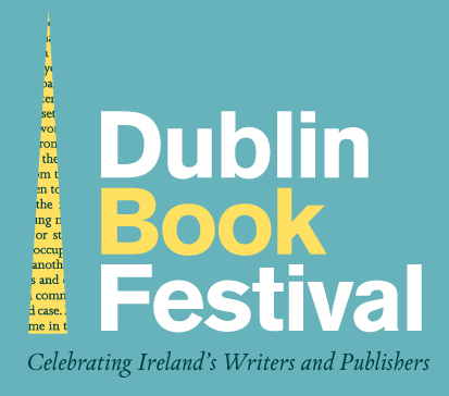 Dublin Book Festival logo - sea foam green, yellow and white.