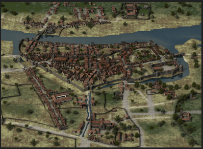 An artist impression of medieval walled city of Dublin, by Iain Barber. Courtesy of the artist. All rights reserved.