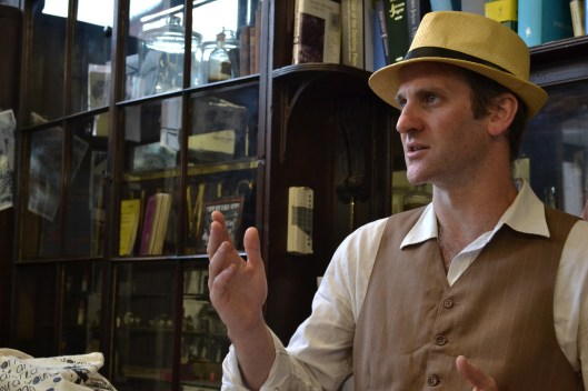david during the tour at the joycean sweny pharmacy in dublin