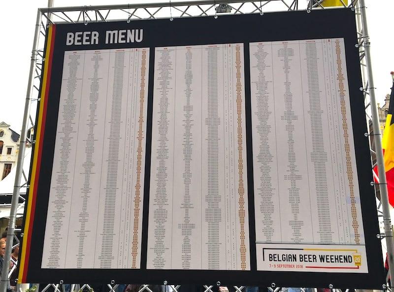 Die kleine Karte für Belgische Biere.