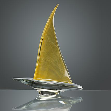 BARCA A VELA TRASPARENTE & ORO_Transparent & Gold sailing boat  H 51 cm