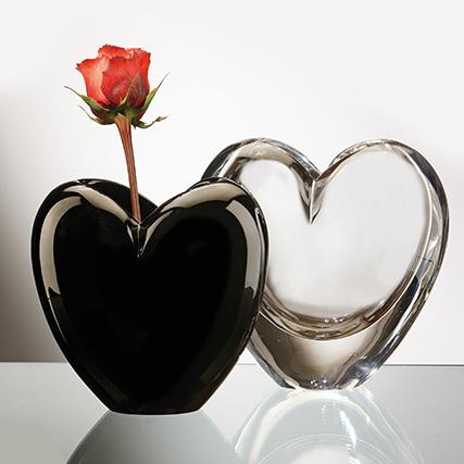 EROS VASO TRASPARENTE E NERO Eros Transparent Vase H 20/25 cm