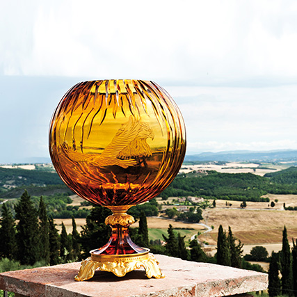FIRE VASO SFERA AMBRA FALCO CON BASE BRONZO  Fire Amber Sphere Vase Falcon with Bronze Base  ø 33 cm