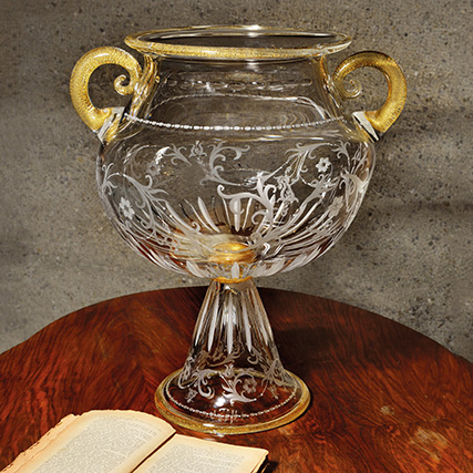 FLOWERS COPPA CON PIEDE TRASPARENTE & ORO   Flowers Bowl with Stand, Transparent & Gold H 50 cm  ø 35 cm