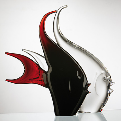 PESCE STILIZZATO ROSSO - TRASPARENTE - AMBRA  Red - Transparent - Amber Stylized Fish  H 38 cm