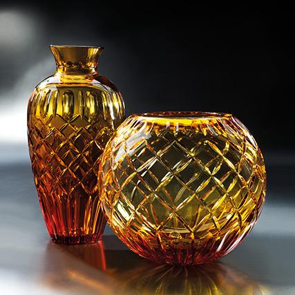 ROYAL VASO E SFERA AMBRA Royal Amber Vase and Sphere H 45 cm  ø 33 cm