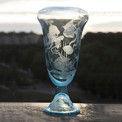 SWIMMING VASO ACQUAMARE Swimming Aquamarine Vase  H 55 cm