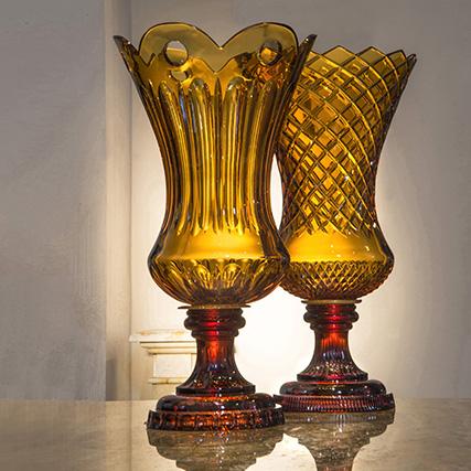 DUCALE VASO AMBRA COSTE E FORI E TAGLIO RETE  Ducale Amber Vase Coste & Holes and Grid Cut H 60 cm