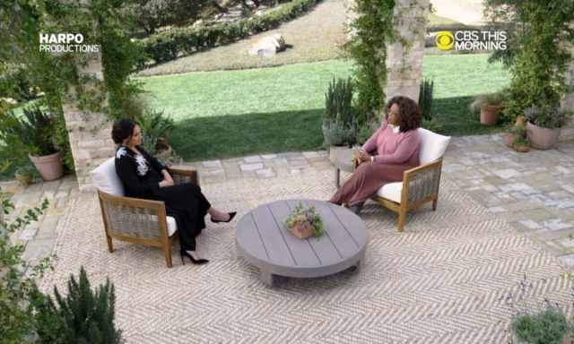 Meghan Markle sitting with Oprah Winfrey