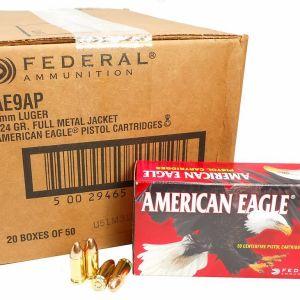 9mm 9x19 Ammo 124gr FMJ Federal American Eagle (AE9AP) 1000 Round Case
