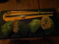 Chili Crab Rolls, Charred Corn Salad, Sriracha Mayo