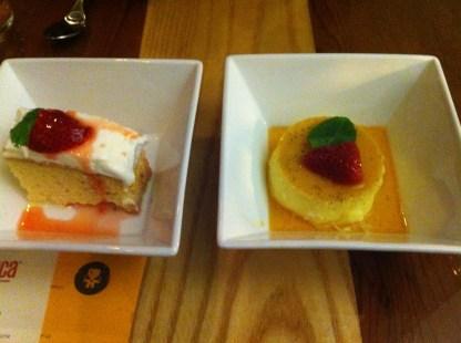 Tres Leches Cake and Vanilla Pisco Flan