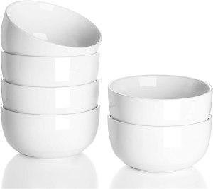 White dessert or ice cream bowls