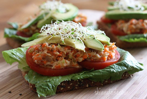 Open faced tuna avocado sandwich from Skinnytaste