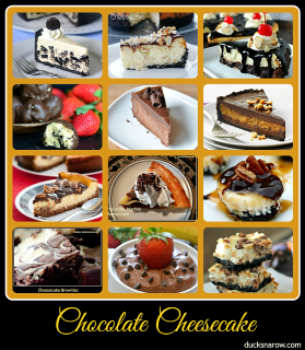 Collection of 12 amazing chocolate cheesecake recipes #DucksnaRow #cheesecake #chocolatelover #chocolatecheesecake #dessertrecipes