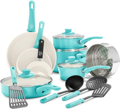 Pots and pans set - turquoise and white color