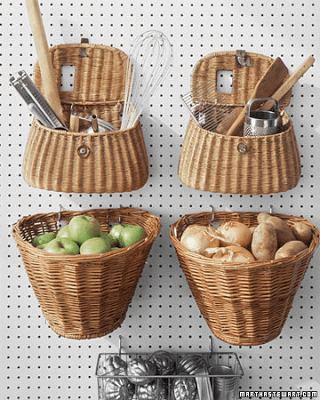 hanging baskets, wicker baskets, storage bins