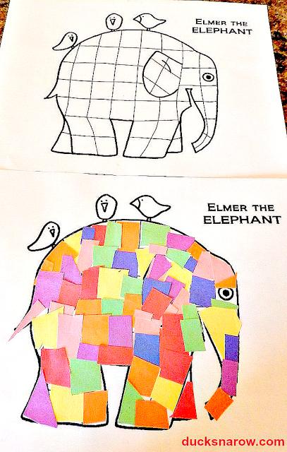 Elmer the Elephant, Elmer the Patchwork Elephant, Letter E for preschool