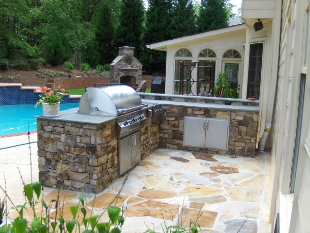 backyard barbeque, grill, fireplace, pool