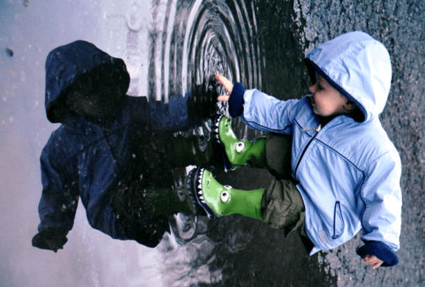 Playing in puddles is fun. #puddles #water #leaks