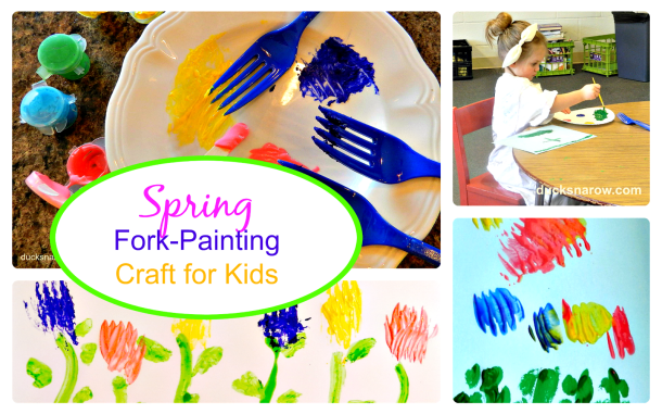 painting spring flowers with tempera paints using forks #spring #preschoolcraft