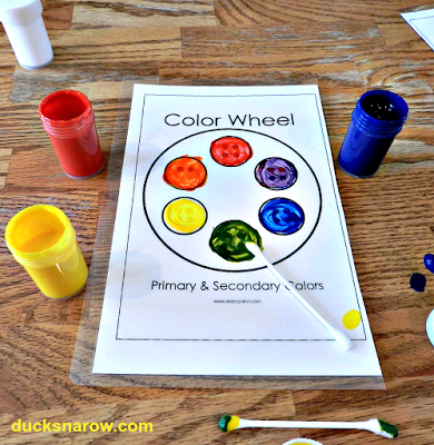 Letter Y is for Yellow preschool lesson color wheel for blending paints.