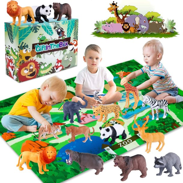 GiftInTheBox safari toys with playmat for kids #ad