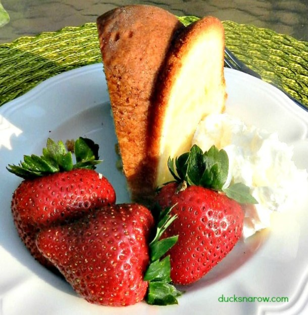 Homemade cream cheese pound cake with fresh strawberries and whipped cream #recipes