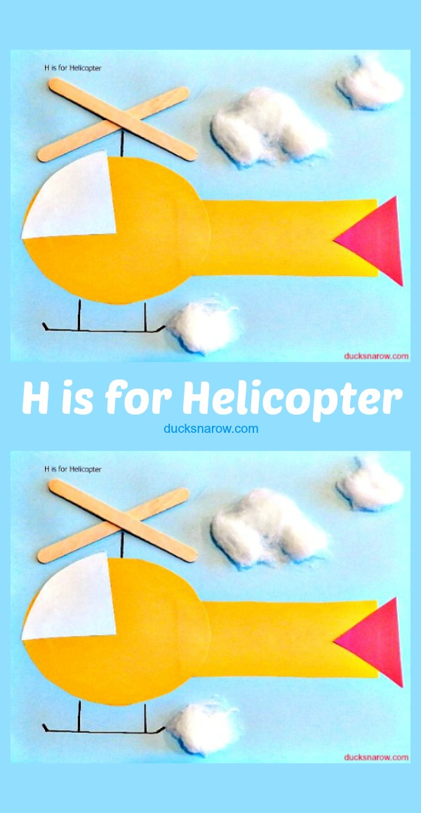 H is for helicopter preschool craft #kids #helicopter