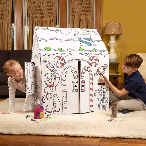 Easy playhouse gingerbread house for kids #ad