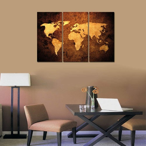 Gold map of the world wall art #ad