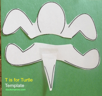 Template for the parts to make a T is for Turtle paper plate craft with your #kids