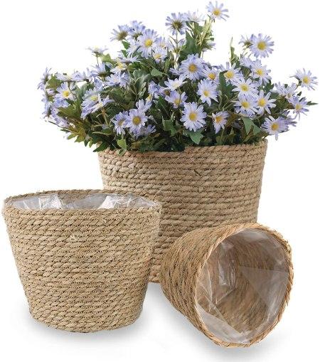 Handmade seagrass planters
