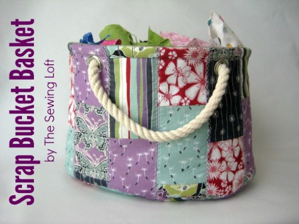 DIY scrap bucket basket by the Sewing Loft