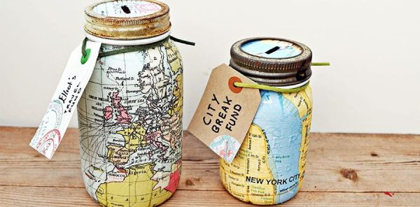Map Mason Jar Bank DIY by Pillar Box Blue